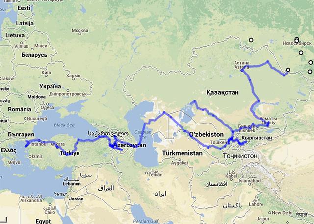 中央アジア・中東のルート